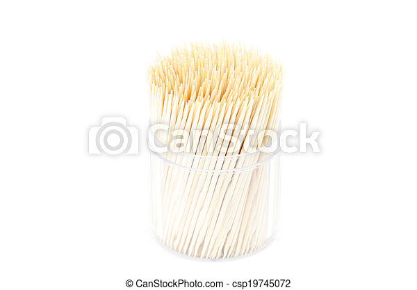 Toothpick isolated on white background - csp19745072