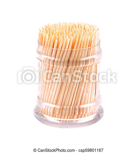 Toothpicks in a box on a white background - csp59801167