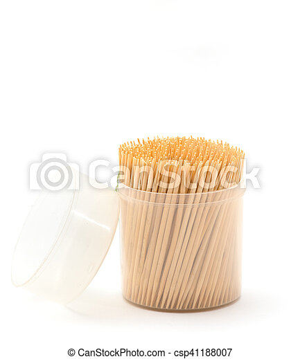 Toothpicks in a box on a white background - csp41188007