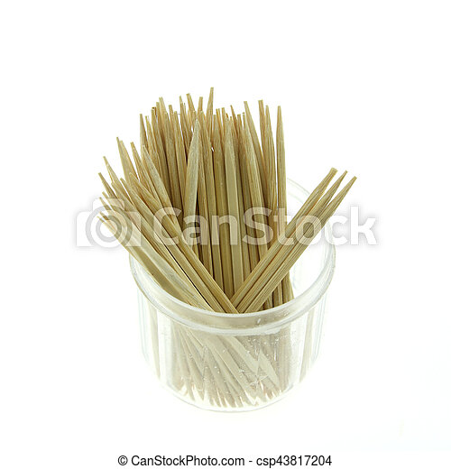 Toothpicks in a box on a white background - csp43817204