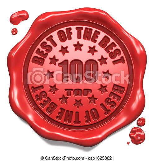 Top 100 in Charts - Stamp on Red Wax Seal. - csp16258621