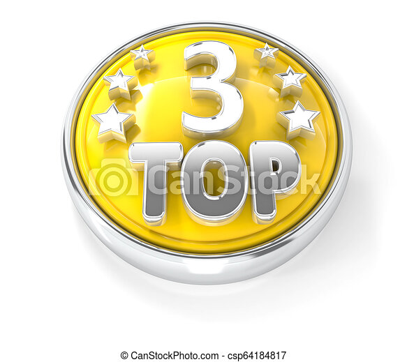 TOP 3 icon on glossy yellow round button - csp64184817