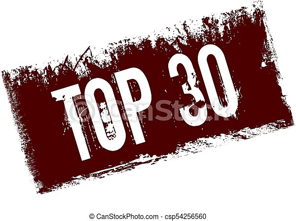 TOP 30 on red retro distressed background. - csp54256560