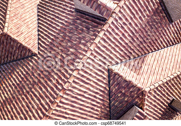 Top aerial view of building complex shingle roof construction. Abstract background. - csp68749541