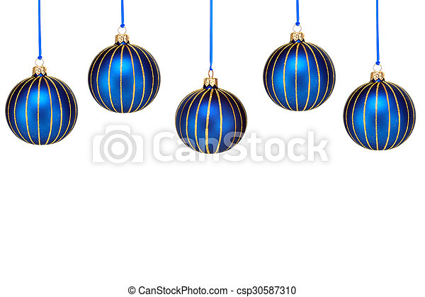 Christmas Top Border.Top Border Of Blue Christmas Ornaments On White