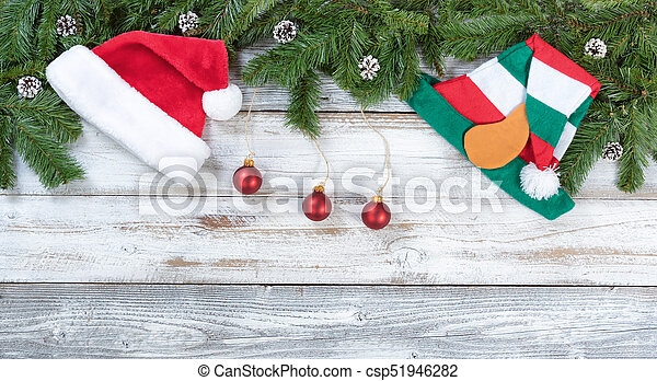 Christmas Top Border.Top Border Of Christmas Fir Branches And Traditional Decorations On Rustic White Wooden Background