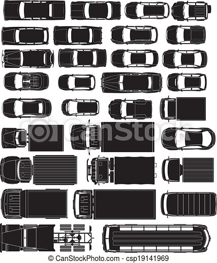 Top Car Silhouettes Cargo And Passenger Cars Overhand View Silhouettes