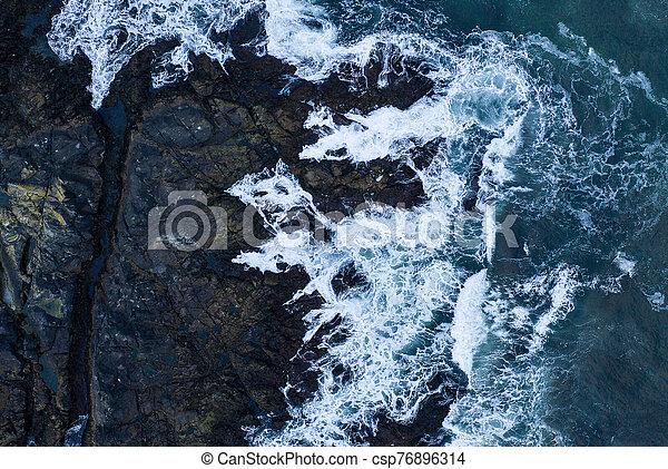 Top down view of giant ocean waves - csp76896314