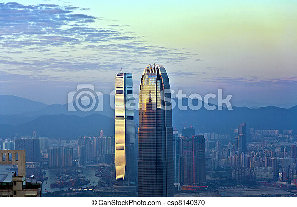 top of skyscraper by night with panorama of Hong Kong - csp8140370