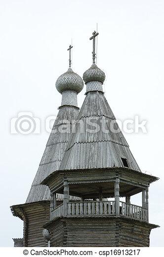 Top of wooden russian church - csp16913217