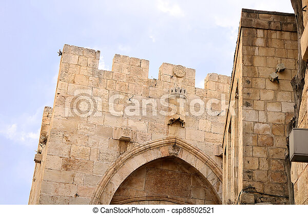 Top part of the Jaffa Gate structure in The Old City of Jerusalem, Israel - csp88502521