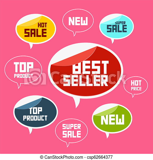 Top Product, Best Seller, New Flat Vector Labels - csp62664377