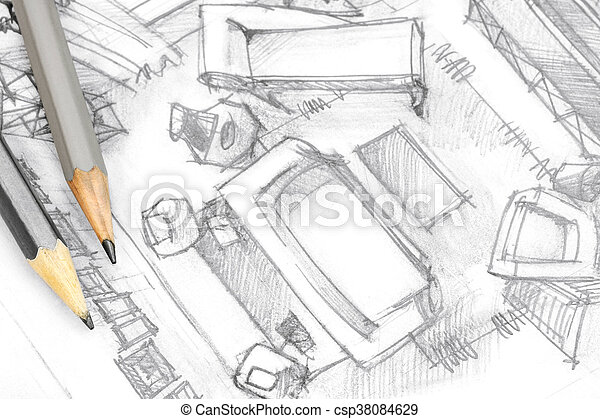 Top View Architectural Drawing Of Living Room With Tools