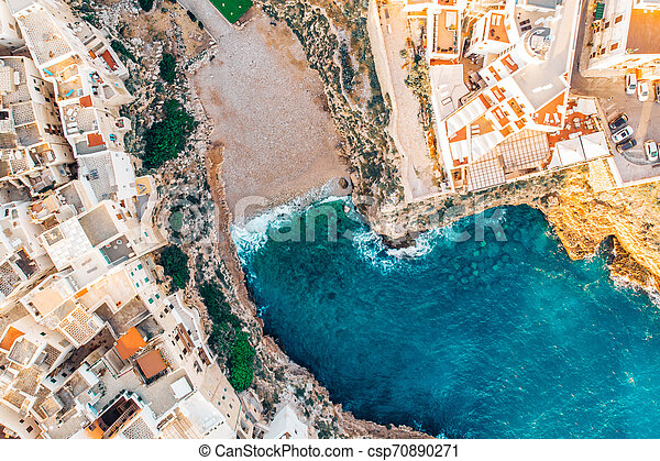 Top view beach of Polignano a Mare on summer day without people - csp70890271