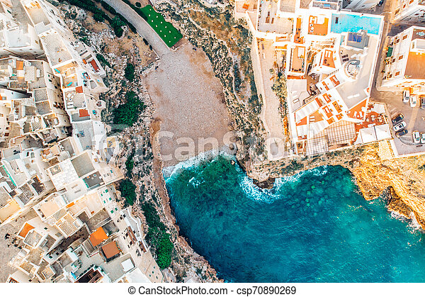 Top view beach of Polignano a Mare on summer day without people - csp70890269