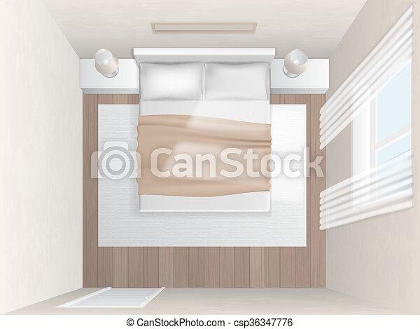 Top View Bedroom With Beige Walls Top View Bedroom With Beige Walls