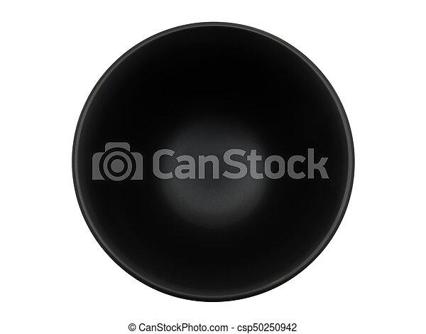top view black bowl on white background - csp50250942