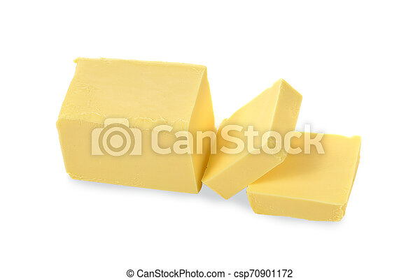 top view butter on white background - csp70901172