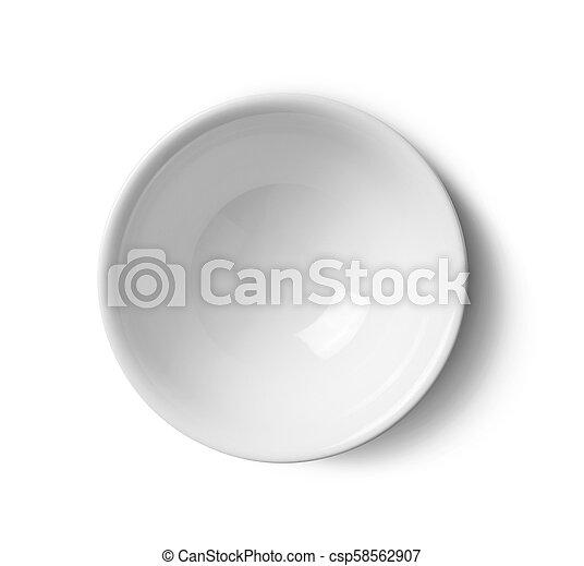 top view ceramic bowl on white background - csp58562907