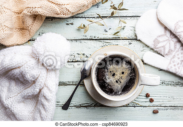 Top view cup of hot coffee - csp84690923