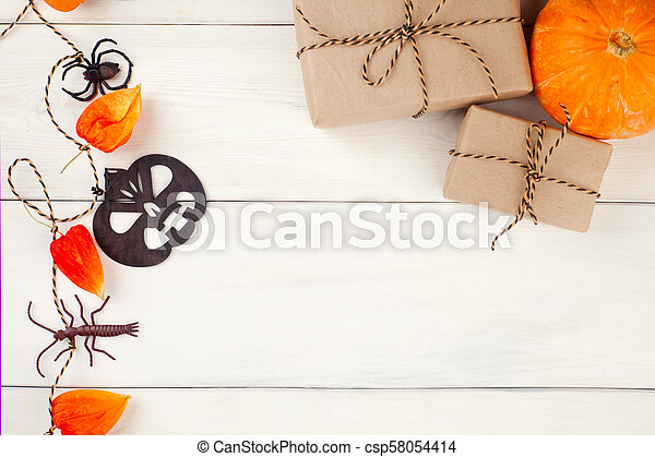 Halloween Pumpkin Accessories.Top View Flat Lay Halloween S Pumpkin And Accessories Or Items Spider And Gift Present On Rustic Wooden Background Idea Canstock