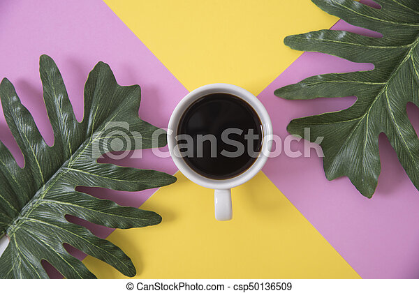 Top view flat lay of coffee cup with green leaves on color background. - csp50136509