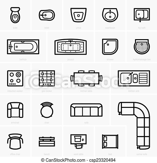 Top view furniture icons - csp23320494