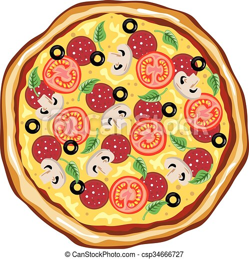 Top View Great Pizza - csp34666727