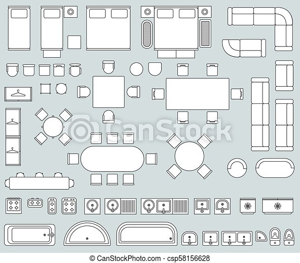 Top View Interior With Line Furniture Icons Vector Set Top View