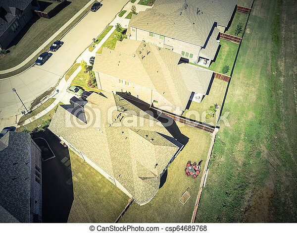 Top view new residential houses neighborhood with garden suburbs - csp64689768