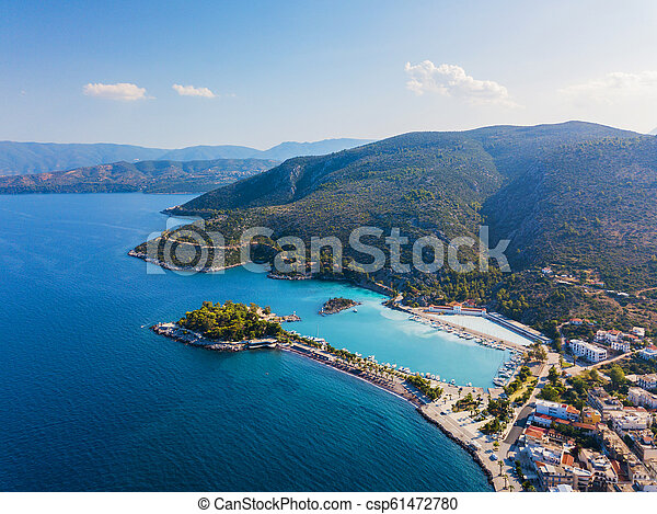 Top view of a coastal line. Aerial drone bird's eye view photo. - csp61472780
