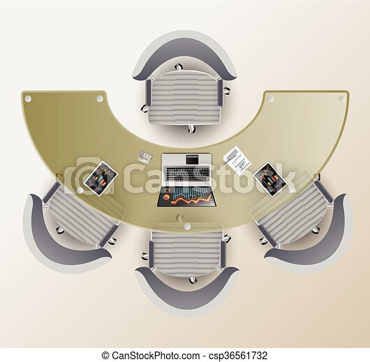 Vectors Of Top View Of A Conference Room Half Round Glass Table - Conference room table and chairs clip art