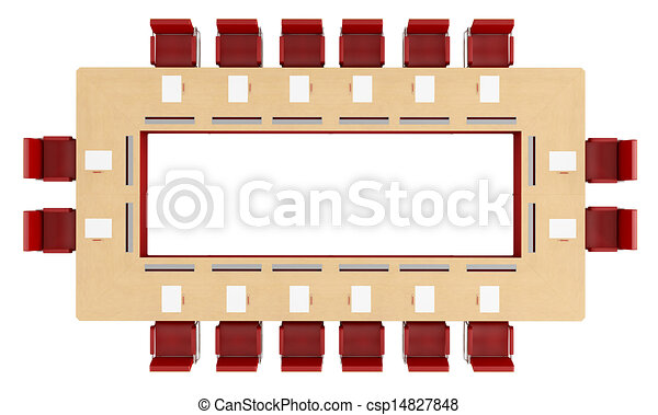 Drawing Of Top View Of A Wood Meeting Table With Red Chair - Conference room table and chairs clip art