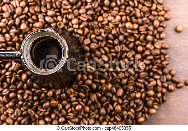 top view of aromatic coffee beans and turk with coffee - csp48405355