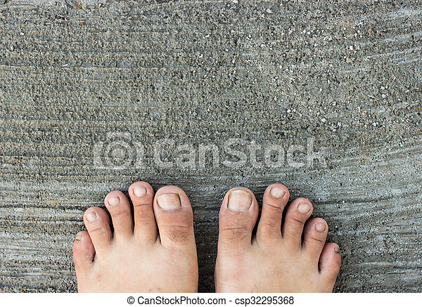 Top View Of Bare Foot On Cement Floor Background Walk To The Nature Relax