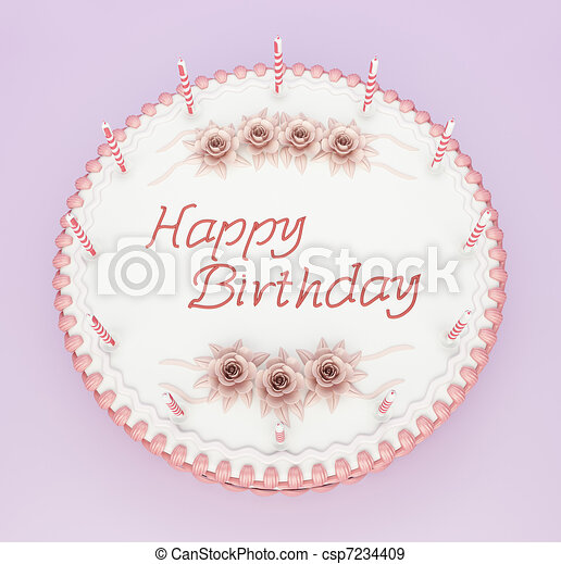 Top view of birthday cake with candles and roses with stock