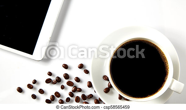Top view of black coffee and blank notebook - csp58565459