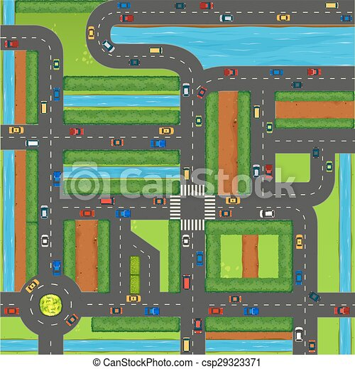 Top view of cars on street - csp29323371