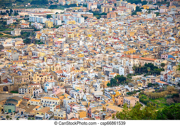 Top view of Castellammare del Golfo in Sicily, architecture backgroung, Italy - csp66861539