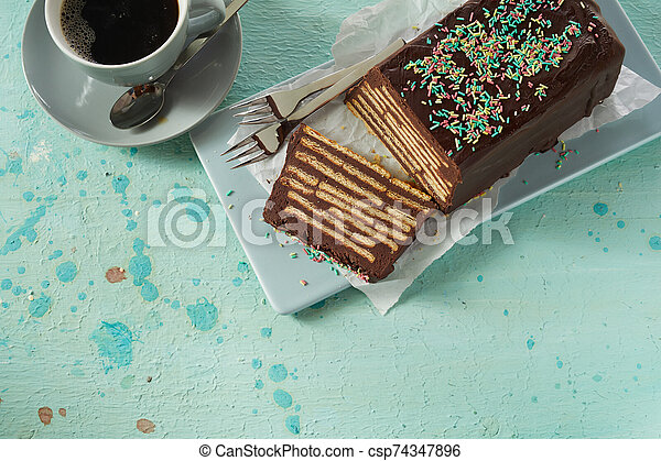 Top view of chocolate Kalter Hund cake - csp74347896