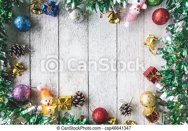 Christmas Top View.Top View Of Christmas Decoration On White Wooden Table Background Free Space For Text