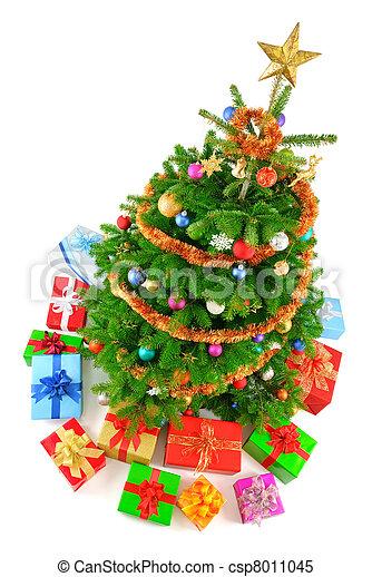 Christmas Tree Top View.Top View Of Colorful Christmas Tree