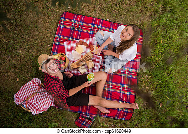 top view of couple enjoying picnic time - csp61620449