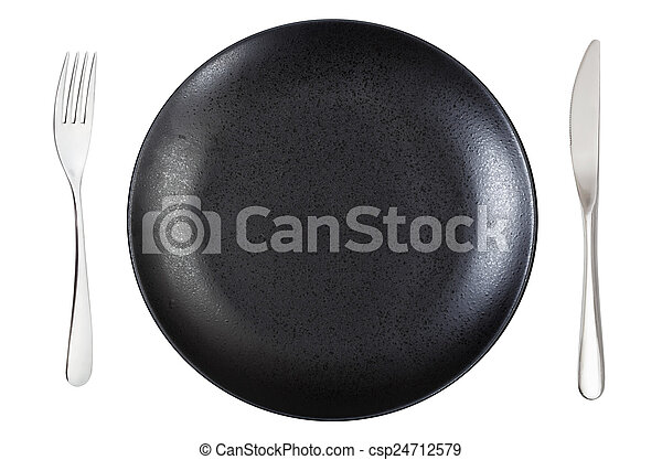 top view of empty black dinner plate with cutlery - csp24712579  sc 1 st  Can Stock Photo & Top view of empty black dinner plate with cutlery. Top view of empty ...