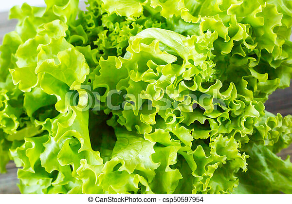 Top view of fresh Lettuce on wooden background - csp50597954