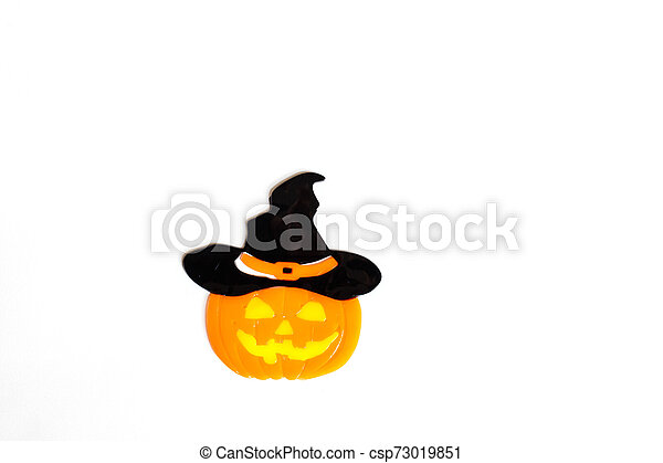 Top view of Halloween crafts, pumpkin on white background with copy space for text. halloween concept. Flat lay, mockup, top view, overhead - csp73019851