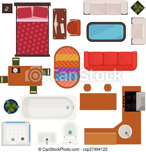Top View Of Home Furniture - csp37494122