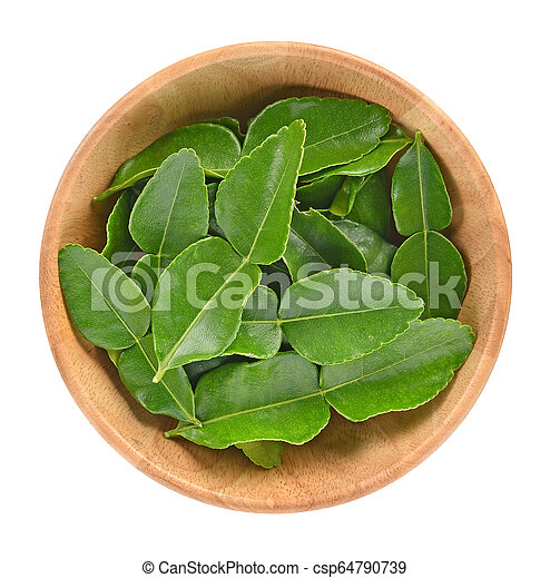 Top view of Kaffir lime leaf isolated in wooden bowl on white background - csp64790739