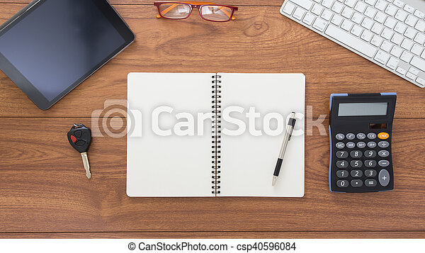 Top view of office table with accessories - csp40596084
