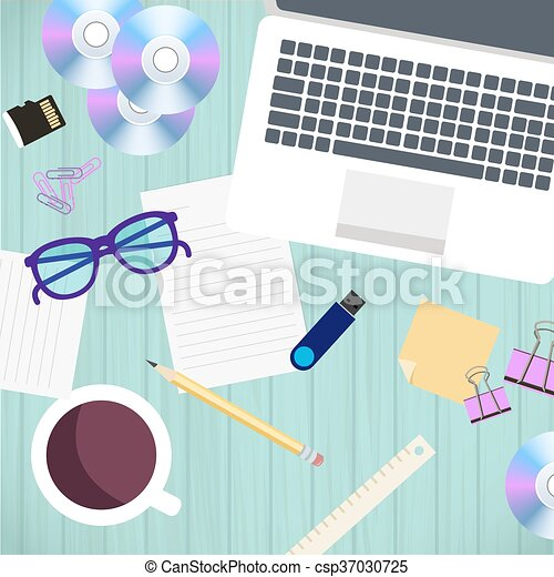 Top view of office workplace and accessories on wood table. Vector illustration in flat style design. - csp37030725